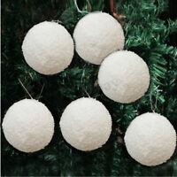 6/12Pcs Christmas Snowball Balls 40-100mm Party Ornaments Bauble Xmas Tree Decor