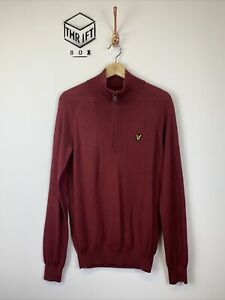 LYLE & SCOTT, Mens Size S, Burgundy, Thin Knit, 1/4 Zip Jumper,*EX COND*