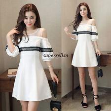 Korean Women Off Shoulder Evening Party Cocktail Summer A Line Short Dress S-XL