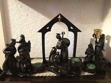 PARTYLITE WeihnachtsKRIPPE 4'tlg Maria Josef König Schäfer Tor f.Teelicht BRONZE