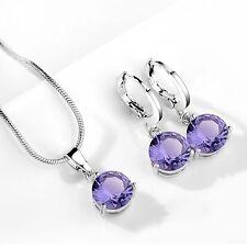 Purple Cubic Zirconia Jewellery Set. Necklace and Drop Earrings