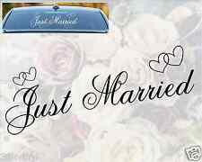 JUST MARRIED Car Window Sticker Wedding Day Sign Hearts Decoration Vinyl Decal