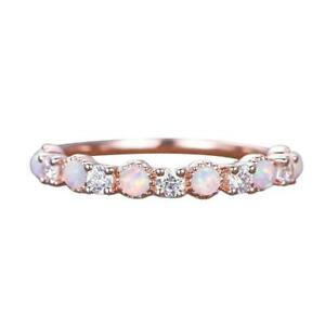 Adorable Pink Fire Opal Girl Wedding Ring Silver Rings Women Jewelry Sz 6-10 NEW