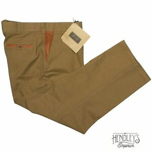 NWT ORVIS Zambezi Pants 40x28 Khaki Cotton Twill Leather Trim Pocket Flat Front