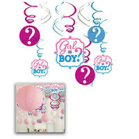 Baby Shower Hanging Party Banner Bunting Boy Girl Gender Reveal Decor 12pcs