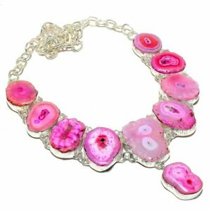 "Pink Solar Quartz Druzy Gemstone 925 Sterling Silver Jewelry N-33 Necklace 18"""