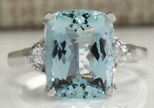 4.60 Carat Natural Aquamarine 14K White Gold Diamond Ring