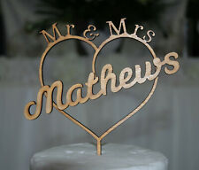Personalised Mr & Mrs Wedding Cake Topper, Custom cake decor, wooden.