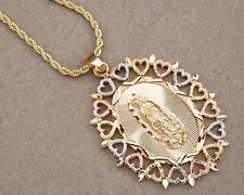 3T Rhodium Rose Yellow Gold Plated Virgin Mary Heart Charm & 20in Rope Chain Set
