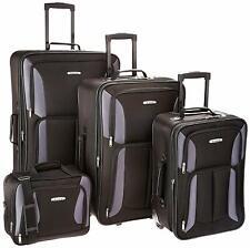 Rockland Luggage Expandable Wheeled 4 Piece Set, Travel Bags, Black/Grey