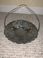 Vintage FARBER WARE Krome-Kraft CHROME Serving Basket Grape Motif New York RARE