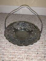 Vintage FARBER WARE Krome-Kraft CHROME Serving Basket Grape Motif New York RARE