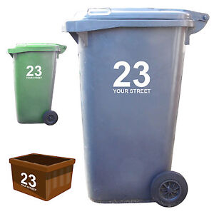 3 x Wheelie Bin Numbers Your House Number And Road/Street Name Vinyl Stickers