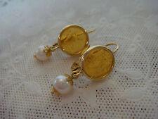 TAGLIAMONTE DESIGNS ~ 14K YG + Venetian Intaglio + Pearl Earrings