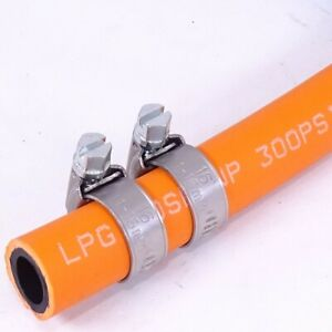 Propane Butane Gas Hose Pipe LPG Camping Caravan BBQ Gas Bottle + 2 Hose Clips