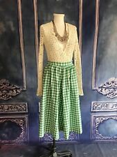 Vintage 1950s Green Gingham Check Plaid Cotton Circle Skirt SMALL Beacon Hill Co