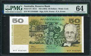 Australia 1994, 50 Dollars, P47i, PMG 64 UNC