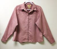 Wrangler Womans Faux Suede Mauve Snap Up Shirt Sz L Ranch Cowgirl Western