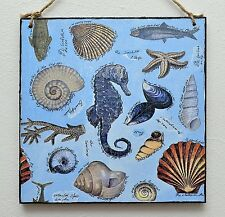 Wall plaque/picture Ocean, sea life symbols, seashells, seahorse, fish