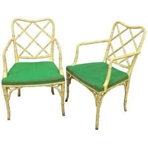 Superb Pair Faux Bamboo Chinese Chippendale Arm Dining Living Room Chairs