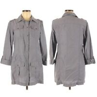 Chicos Womens Utility Shirt Jacket Size 1 Medium Chambray Blue Roll Tab Pockets