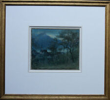 ALBERT GOODWIN RWS 1845-1932 NOCTURNE ALTDORF SWITZERLAND LANDSCAPE PAINTING ART