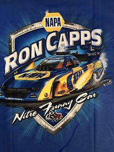 "NHRA DRAG RACING ""NITRO FUNNY CAR"" RON CAPPS Blue T- SHIRT  SIZE SMALL"