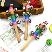Baby Kids Wooden 10 Bells Jingle Stick Shaker Sensory Crying Rattle Q6N4