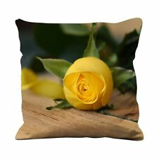 Yellow Rose On Table Faux Silk 45cm x 45cm Sofa Cushion - Roses Floral Flowers