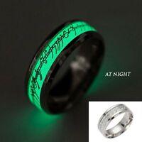 Hombres Anillos acero inoxidable resplandor oscuridad 8mm luminoso Anillo Ring