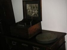 """Polyphon 28cm Platten Spieldose Uhr crank antique 11"""" discs christmas music box"""