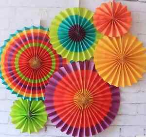 6 Piece Colourful Striped Hanging Decoration Paper Fans ~ Birthdays Parties Fair