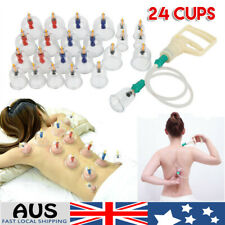 24 Cups Chinese Vacuum Cupping Set Acupuncture Massage Body Pain Therapy Suction