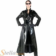 Ladies Official Trinity Matrix Trench Coat Fancy Dress Costume Womens Outfit