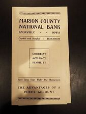 Marion County National Bank Advantages of a Check Account Vintage Brochure