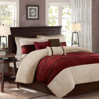 NEW!! ~ COZY ULTRA SOFT CHIC TAUPE TAN BEIGE BROWN STRIPE LEAF RED COMFORTER SET