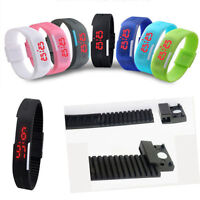 Ultra Thin Colorful Kids Silicone LED Rubber Bracelet Touch Digital Wrist Watch
