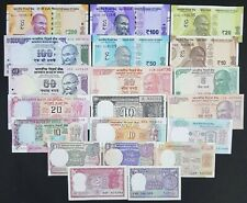 INDIA SET OF 20 PCS ALL DIFFERENT BANKNOTES SET FROM 1/- TO 200/- RUPEES IN UNC
