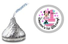 MINNIE MOUSE FUN TO BE ONE HERSHEY KISS LABELS STICKERS BIRTHDAY PARTY FAVORS