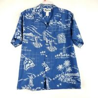Vintage Howie Shirt Size M Blue White Islands Hawaiian Floral Button Down 80s