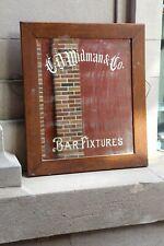 Antique Vintage Shaving Mirror Bar Fixtures Beveled glass Barber shop wood frame