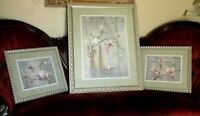 HOME INTERIORS PINK MAGNOLIA BLOSSOMS Silver Picture Frame Set of 3