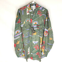 GOOUCH Mens Large Long Sleeve Shirt Silk Button Up 90s Abstract Art VTG NEW L
