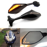 Motorcycle LED Turn Signal Rearview Mirrors For Suzuki GSXR 1000 750 600 Custom