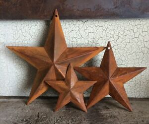 """Set/3 Rusty Barn Stars 8, 5.5, 3"""" in Dimensional Craft Supply Country Farmhouse"""
