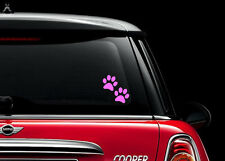 4x Pink Dog Cat Animal Paw Print car window Stickers 60x60mm Laptop skateboard