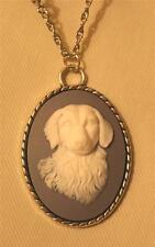 CUTE! Roped Rim Wedgewood Blue White Long Hair Dog Silvertone Pendant Necklace