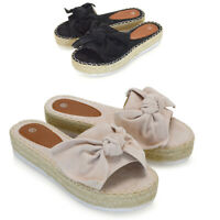 Womens Bow Flatform Sandals Peep Toe Ladies Espadrille Wedges Platform Shoes