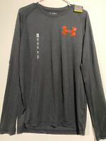 *NWT* Mens Under Armour Black/Orange Loose HeatGear L/S Shirt. Size Medium