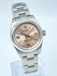 Ladies 2018 Rolex Oyster Perpetual 176200 26mm Arabic 3 6 9 Pink Bronze Dial